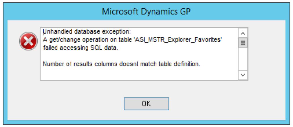 """GP2015 R2 Upgrade – """"ASI_MSTR_Explorer_Favorites: Number of"""